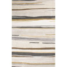 Contemporary Abstract Pattern Gray/Brown Wool and Art Silk Area Rug (9.6x13.6)