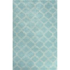 Contemporary Trellis, Chain And Tile Pattern Blue/Ivory Wool And Art Silk Area Rug (9.6X13.6)