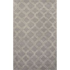 Contemporary Trellis, Chain And Tile Pattern Gray/Ivory Wool And Art Silk Area Rug (9.6X13.6)