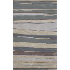 Contemporary Abstract Pattern Blue Wool and Art Silk Area Rug (9.6x13.6)