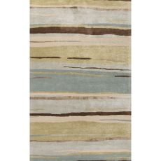 Contemporary Coastal Pattern Green/Blue Wool And Art Silk Area Rug (9.6X13.6)