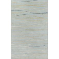 Contemporary Coastal Pattern Blue Wool And Art Silk Area Rug (9.6X13.6)