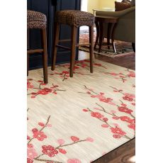 Contemporary Floral & Leaves Pattern Ivory/Red Polyester Area Rug (9X12)