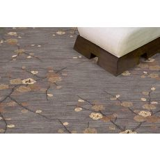 Contemporary Floral & Leaves Pattern Gray/Yellow Polyester Area Rug (9X12)