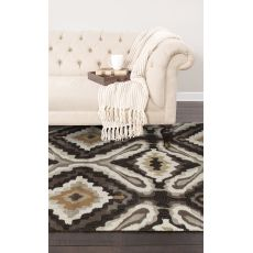 Contemporary Abstract Pattern Brown/Ivory Polyester Area Rug (7.6X9.6)