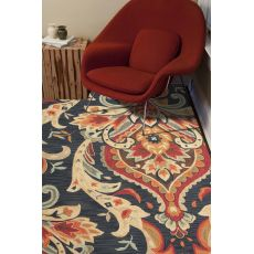 Contemporary Medallion Pattern Blue/Red Polyester Area Rug (7.6X9.6)