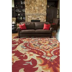Contemporary Medallion Pattern Red/Blue Polyester Area Rug (7.6X9.6)