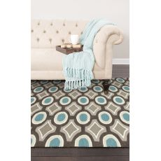 Contemporary Tribal Pattern Gray/Blue Polyester Area Rug (7.6X9.6)