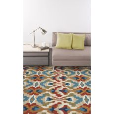 Contemporary Abstract Pattern Blue/Red Polyester Area Rug (9x12)