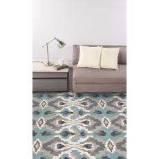 Contemporary Abstract Pattern Blue/Ivory Polyester Area Rug (9x12)