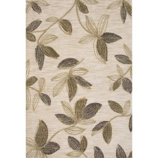 Contemporary Floral & Leaves Pattern Green Polyester Area Rug (7.6X9.6)