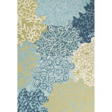 Contemporary Abstract Pattern Blue/Green Polyester Area Rug (7.6x9.6)