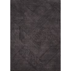 Contemporary Tribal Pattern Black Wool Area Rug (8X10)