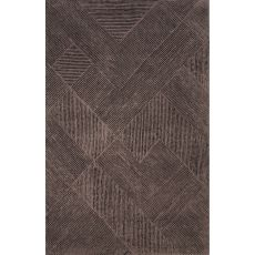Contemporary Tribal Pattern Taupe/Purple Wool Area Rug (8X10)