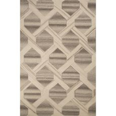 Contemporary Tribal Pattern Ivory/White Wool Area Rug (8X10)