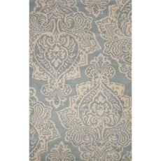 Contemporary Damask Pattern Blue/White Wool Area Rug (8X10)