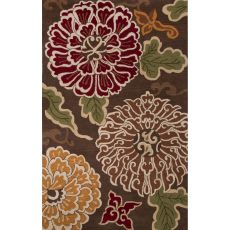 Contemporary Floral & Leaves Pattern Brown/Multi Wool Area Rug (8X10)