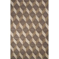 Contemporary Tribal Pattern Gray/Brown Wool Area Rug (8X10)