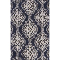 Contemporary Damask Pattern Blue Wool Area Rug (8X10)