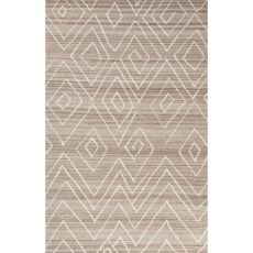 Contemporary Tribal Pattern Ivory/Natural Wool Area Rug (9X12)