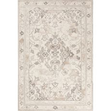 Contemporary Oriental Pattern Ivory/Gray Wool Area Rug (9X12)