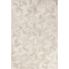 Contemporary Tribal Pattern Ivory/Gray Wool Area Rug (8X10)