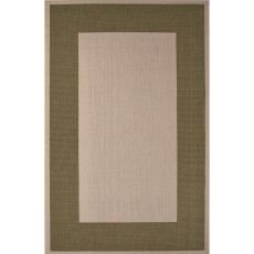 Indoor/Outdoor Border Pattern Ivory/Green Polypropylene Area Rug (7.11X10)
