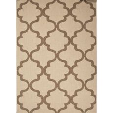 Indoor/Outdoor Trellis, Chain And Tile Pattern Taupe/Brown Polypropylene Area Rug (7.11X10)