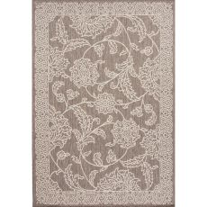 Indoor/Outdoor Floral & Leaves Pattern Gray/Ivory Polypropylene Area Rug (7.11X10)