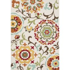 Contemporary Floral & Leaves Pattern Ivory/White Polyester Area Rug (7.6X9.6)