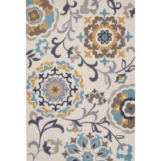 Contemporary Floral & Leaves Pattern Taupe/Tan Polyester Area Rug (7.6X9.6)
