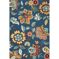 Contemporary Floral & Leaves Pattern Blue Polyester Area Rug (7.6X9.6)
