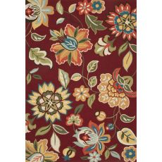 Contemporary Floral & Leaves Pattern Red Polyester Area Rug (7.6X9.6)