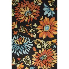 Contemporary Floral & Leaves Pattern Black/Orange Polyester Area Rug (7.6X9.6)