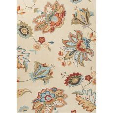 Contemporary Floral & Leaves Pattern Ivory/Orange Polyester Area Rug (9X12)