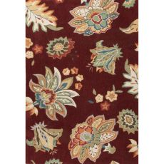 Contemporary Floral & Leaves Pattern Red/Yellow Polyester Area Rug (7.6X9.6)