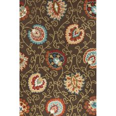 Contemporary Floral & Leaves Pattern Brown/Orange Polyester Area Rug (7.6X9.6)