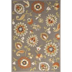 Contemporary Floral & Leaves Pattern Gray/Orange Polyester Area Rug (9X12)