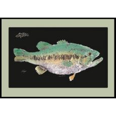 Large Mouth Bass Mat With Border Floor Mat