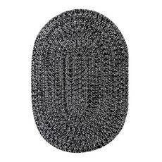 "Homespice Decor 20"" x 30"" Oval Black Ultra Durable Braided Rug"