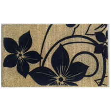 Black Flowers Doormat