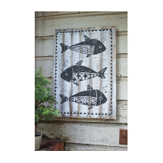 Black and White Wooden Fish Wall Art