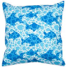 Blue Fish Bubbles Pillow
