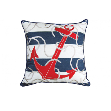 Blue Stripe with Red Anchor Pillow - Outdoor Sunbrella®