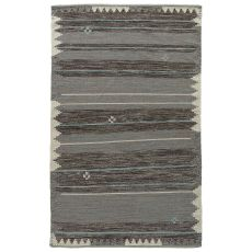 Flatweave Tribal Pattern Blue/Black Wool And Cotton Area Rug ( 8X11)