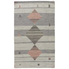 Youth Tribal Pattern Gray/Pink Wool And Cotton Area Rug ( 8X11)