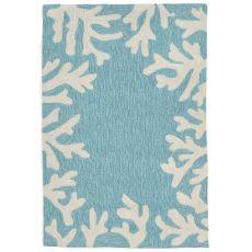"Liora Manne Capri Coral Bdr Indoor/Outdoor Rug - Blue, 20"" By 30"""