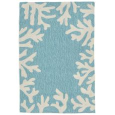 "Liora Manne Capri Coral Bdr Indoor/Outdoor Rug - Blue, 24"" by 36"""