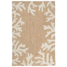 "Coral Border Neutral Indoor/Outdoor Rug  30""x48"""