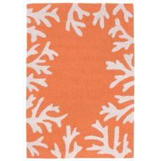 "Liora Manne Capri Coral Bdr Indoor/Outdoor Rug - Orange, 24"" By 36"""